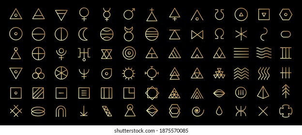 Line art icon set of esoteric glyphs, pictograms and symbols. Golden mystic and alchemy signs linear style