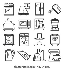 Line art icons of home appliances and kitchen electronics devices.
