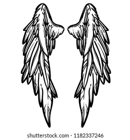 Line art illustration of angel wings. Hand drawn vector card. Sketch for tattoo, hipster t-shirt design, vintage style posters.
