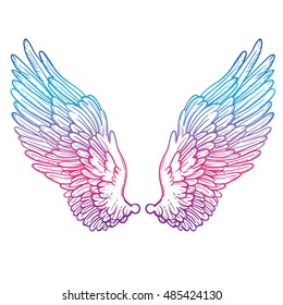 Line art illustration of angel wings. Hand drawn vector card. Sketch for dotwork tattoo, hipster t-shirt design, vintage style posters. Coloring book for kids and adults.