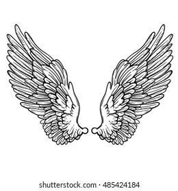 Line art illustration of angel wings. Hand drawn vector card. Sketch for tattoo, hipster t-shirt design, vintage style posters. Coloring book for kids and adults.