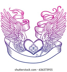 Line art illustration of angel wings and heart, tape and key. Vintage print for St. Valentine s Day. Sketch for tattoo, hipster t-shirt design, vintage style posters.