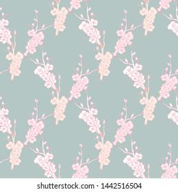 Line art illustration apple or peach brunch tree backdrop.Floral organic background. Vintage floral pattern
