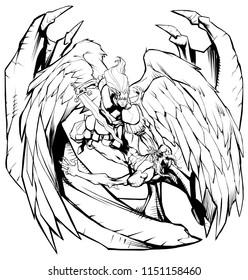 Line art illustration of Archangel Michael defeating Satan.