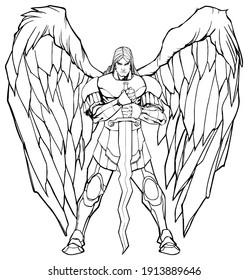 Line art illustration of Archangel Michael holding his sword.