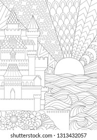 Line art illustration of beautiful castle and sunset in background for design element and adult coloring book for anti stress. Stock vector