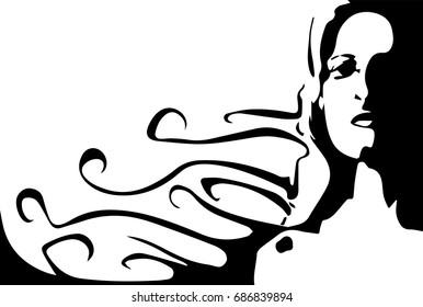 Line art illustration of a beautiful woman