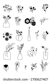 Line art illustration of bunch of flowers in tattoo style.
