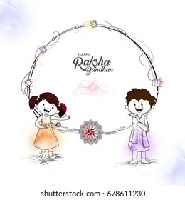 Line art illustration of cute little brother and sister for Happy Raksha Bandhan, Indian Festival concept.