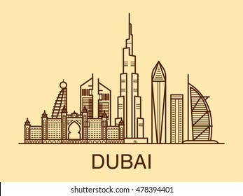 Line art illustration of Dubai in warm colors.