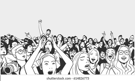 Line art illustration of festival crowd going crazy at concert