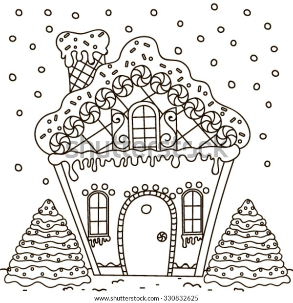 Line Art Illustration Gingerbread House Coloring Stock Vector Royalty Free 330832625