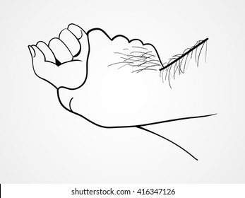 Line art illustration of a hairy man's hand holding a woman hand for rape and sexual abuse concept