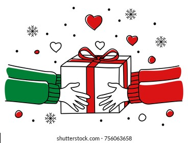 Line art illustration of human hands giving Christmas present, for Christmas theme and background