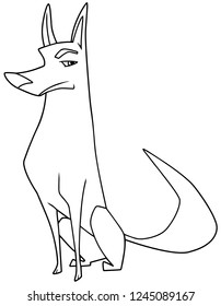 Line art illustration of an intelligent and suspicious dog sitting down while looking at camera with vigilance against white background for copy space.