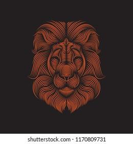 Line art illustration of lion vector. Usable as t shirt design, wallpaper, sticker, tattoo, etc