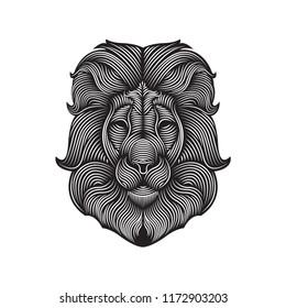 Line art illustration of lion vector. Editable element design for t shirt, poster, wallpaper, etc.