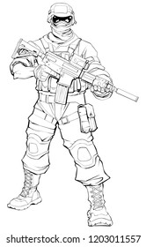 Line art illustration of masked soldier on patrol, holding machine gun.