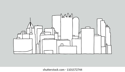 Line art illustration of the office towers in the downtown of the city of Pittsburgh, Pennsylvania, USA.