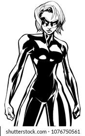 Line art illustration of powerful superheroine ready for battle.