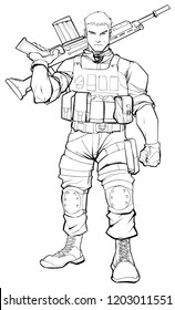 Line art illustration of soldier on patrol, holding machine gun.