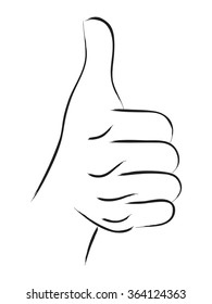Line art illustration of thumbs up or like hand gesture