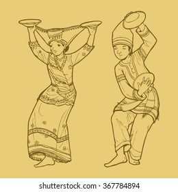 Line art illustration of traditional West Sumatra Indonesian dance tari piring or plate dancing
