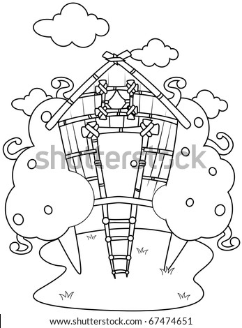 Line Art Illustration Of A Tree House Coloring Page