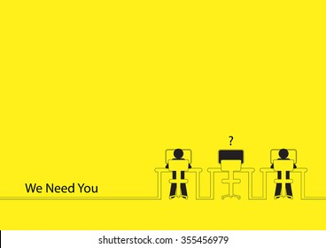 Line art illustration of two people working on the computers with one empty desk for job vacancy theme
