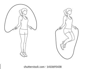 Line art illustration of woman exercise skipping, outline - Vector