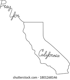 Line art image of California and lettering. Pray for California.