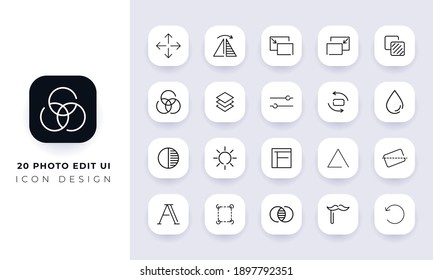 Line art incomplete photo edit ui icon pack. In this pack incorporate with twenty different photo edit ui icon.