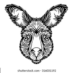 line art kangaroo head