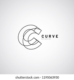 Line Art Lettering Logo Type C Sign Symbol Icon
