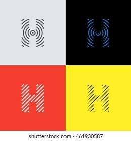 "Line art logo set. Letter ""H"" design. Eps10 vector illustration."