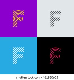 "Line art logo set. Letter ""F"" design. Eps10 vector illustration."