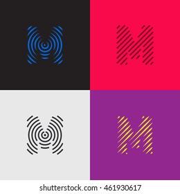 "Line art logo set. Letter ""M"" design. Eps10 vector illustration."