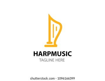 Line art logo template for folk music store, community, conference, concert in EPS 10. Golden harp isolated on white.