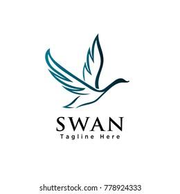 line art lying swan logo