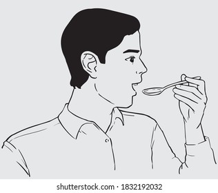line art of a man drink syrup using a spoon, in black stroke line art
