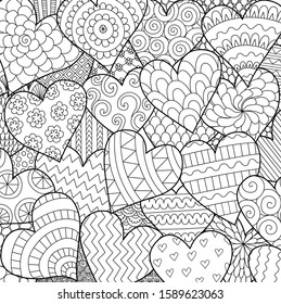 Line art of many hearts for background, Valentines cards,posters and adult coloring book page. Vector illustration