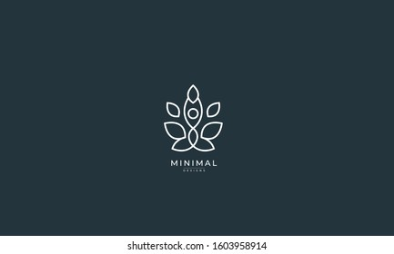 A line art minimal icon logo of a yoga person with tree