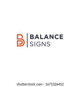 Line Art Monogram Initial Letter BS Modern Logo Abstract