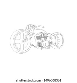 line art of motorcycle. Coloring page - motorcycle - illustration for the children
