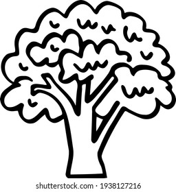 Line art of a nice hand-drawn tree. Stylized oak. Funny black forest doodle. Children's clip art themes of wild life and oak groves. Illustration for creating designs of children's icons and prints.