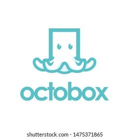 line art octopus box, flat logo vector
