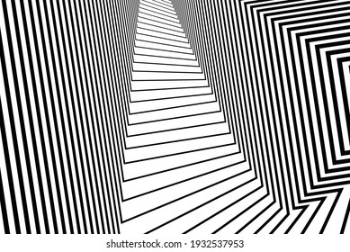 Line art optical art. Psychedelic background. Monochrome background. Optical illusion style. Black dark background. Modern pattern. Abstract graphic texture. Graphic ornament. Vector template