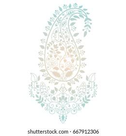 Line art ornate design, flowers. Vector illustration. Indian paisley pattern.