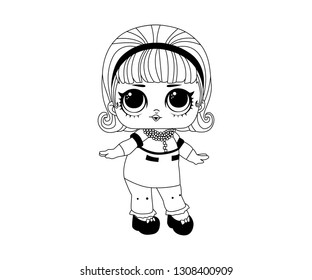 Line Art Outline LOL Dancer Icon Cute Funny Character Vector Image Emoji - Illustration