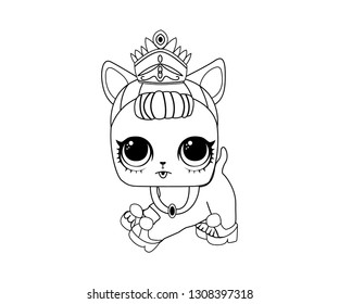 Line Art Outline LOL Dog Dalmatian Icon Character Vector Image Emoji Princess Style - Vector Illustration